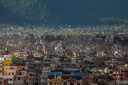 Landscape of Kathmandu city in front of Himalayas Stock Photo
