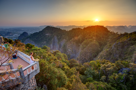 Spectacular look at the Krabi province from Tiger Cave Monastery at the sunset, Thailand