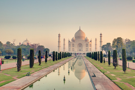 Taj Mahal at the sunrise, Arga, India Stock Photo