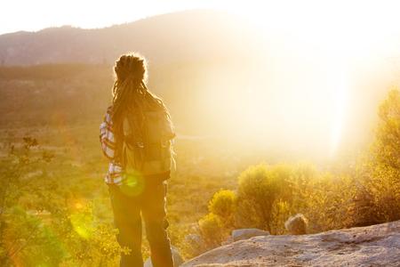 Hiker woman visit Yosemite national park in California