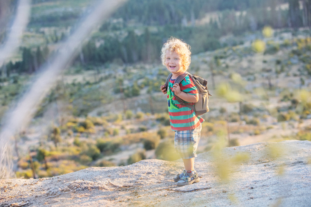 Hiker toddler boy visit Yosemite national park in California