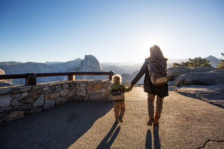Mother with  son visit Yosemite national park in California Stock Photo