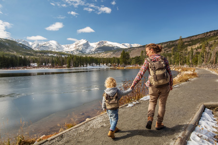 Family in Rocky mountains National park in USA Stock Photo