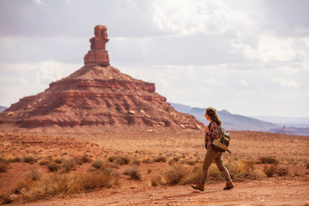 Hiker in Valley of Gods, USA