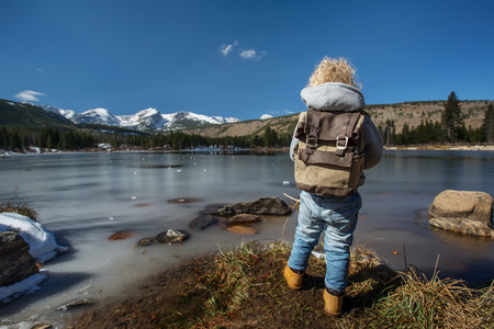 Hiker boy in Rocky mountains National park in USA