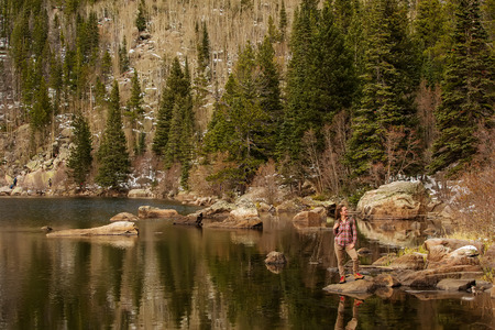 Hiker in Rocky mountains National park in USA