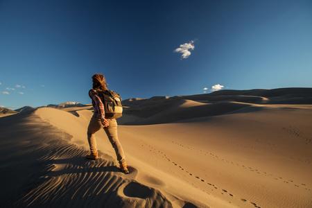 A tourist traveled through the desert Banco de Imagens