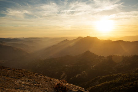 sunset on the Moro rock in Sequoia national park
