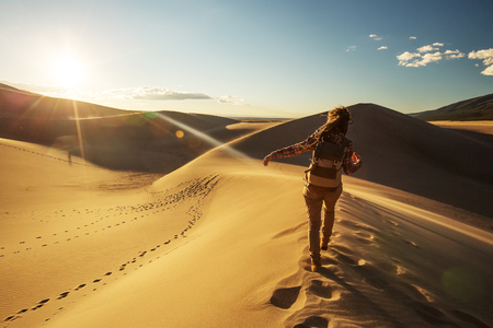 A tourist traveled through the desert Stock Photo