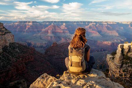 A hiker in the Grand Canyon National Park, South Rim, Arizona, USA.