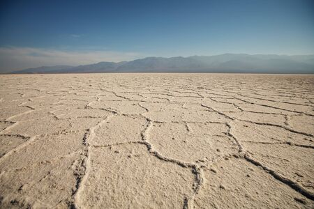 View along Badwater Road in Death Valley National Park, California. Badlands, canyon