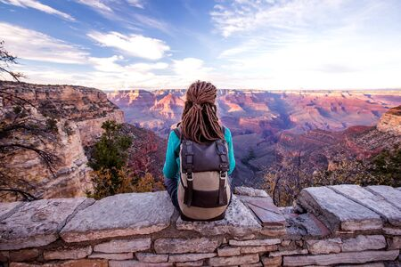 A hiker in the Grand Canyon National Park, South Rim, Arizona, USA.