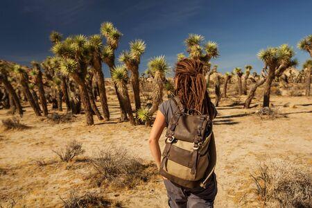 Hiker in joshua tree national park