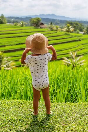Boy looking at rice terrace in Bali, Indonesia