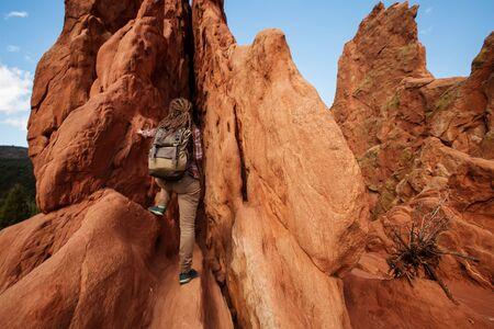 Hiker near the rocks