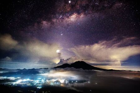 Night Sky Milky Way Mount Agung Bali Indonesia