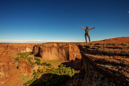 A hiker in the Canyon de Chelly National Monument