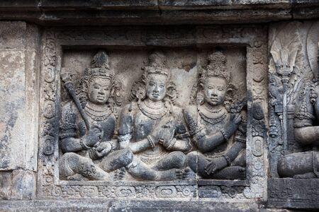 Stone carving in Prambanan temple, Java, Indonesia