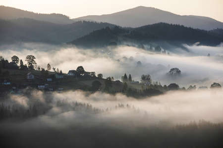 Magic dawn in the misty mountains