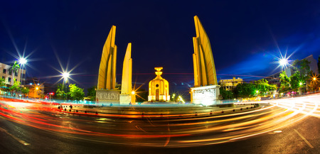 thai democracy monument in twilight with beautiful sky at rajchadamnern road bangkok thailand photo