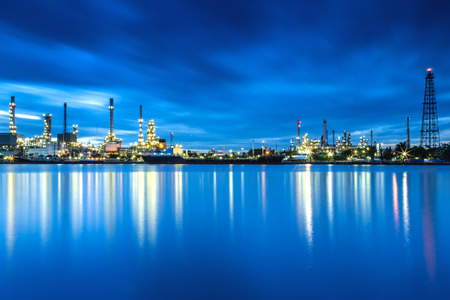 panorama of Oil refinery with reflection, petrochemical plant Editorial