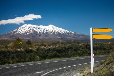 tongariro national park: New Zealand Road Sign near active volcano of Mount Ruapehu in Tongariro National Park