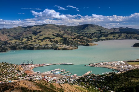 The Port of Lyttelton taken from the hills above  Banks Peninsula, Canterbury, New Zealand