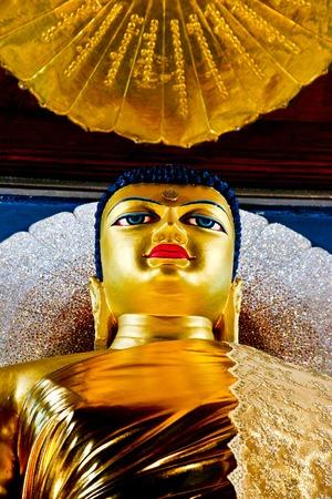 bihar: Golden Buddha in the Mahabodhi Temple, Bodhgaya, Bihar, India Editorial