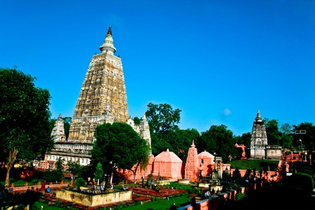 Mahabodhi temple, bodh gaya, India  The site where Gautam Buddha attained enlightenment  photo