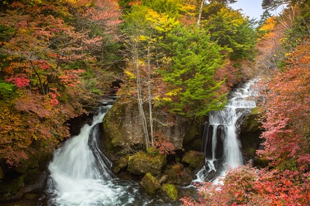 waterfalls in autumn,ryuzu nikko photo