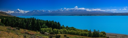 Panoramic view of Mt  Cook reflecting in Lake Pukaki, South Island, New Zealand photo