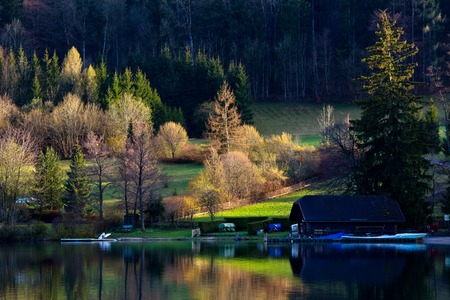 season change at House by the lake in Salzburg,Austria photo