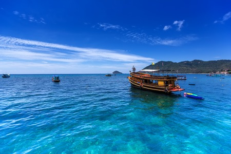 Thai boat in gulf of thailand sea near the tao island photo