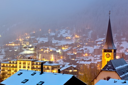 zermatt village at night photo