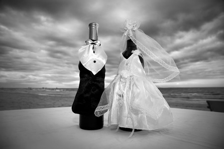 champagne bottles decoration for wedding day photo