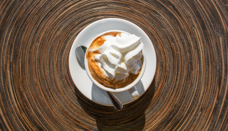 Black coffee with whipcream top view Stock Photo