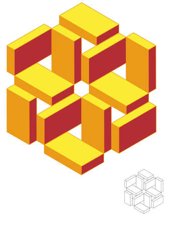 triad: Isometric Geometric Triad Flower 3D - Easily edit colors & Strokes