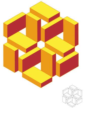 Isometric Geometric Triad Flower 3D - Easily edit colors & Strokes