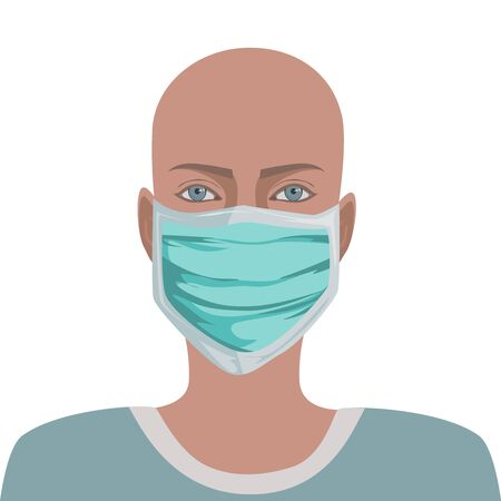 Masked patient without hair. Oncology. Viruses. Idea of healthcare, oncology illness and medicine treatment Vector illustration in cartoon style