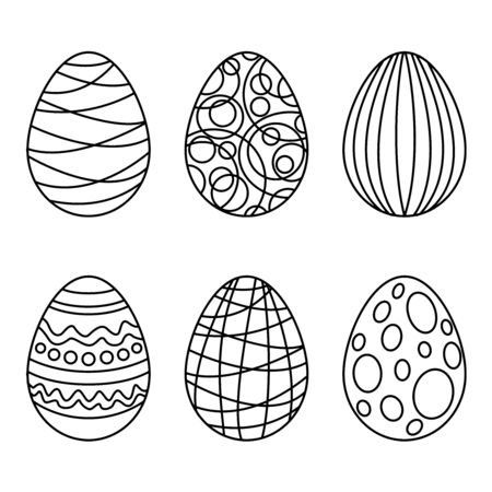 Coloring book with Easter eggs. Easter egg linear icon. Isolated outline drawing Vettoriali