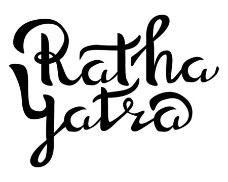 26 june indian religious holiday event label, greeting card decoration graphic element. Happy Ratha Yatra day emblem isolated vector illustration on white background. Black