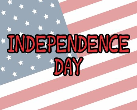 July 4th greeting card with brush stroke background in United States national flag colors and hand lettering text Happy Independence Day. Vector illustration. Vektoros illusztráció