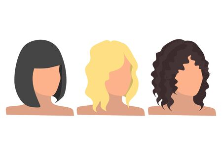Trendy hairstyles. Set of female hair style. Vector collection.