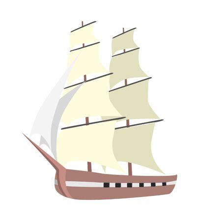Ship on white background. An illustration of a cartoon sailing ship boat