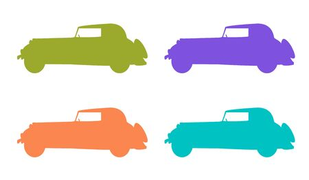 Vector retro car icon set, Retro car silhouette. Green, orange, lilac and blue car Illustration