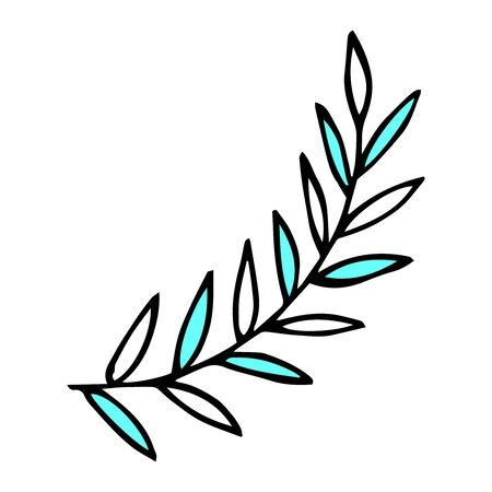 Twig in doodle style. For greeting cards. Hand drawn illustration in black ink. Isolated outline.