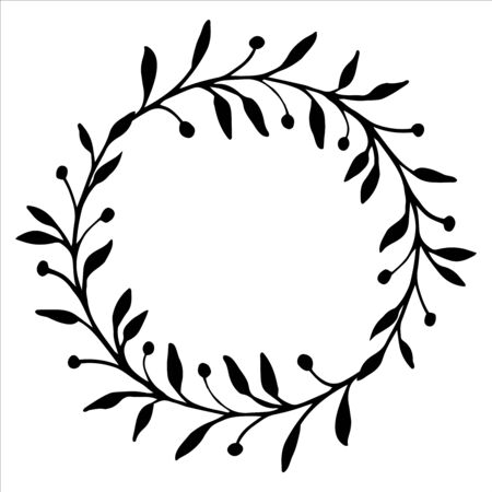 Frame of branches with leaves. Twig in doodle style. For greeting cards. Hand drawn illustration in black ink. Isolated outline. Flower drawing and sketch with black and white line-art. 일러스트