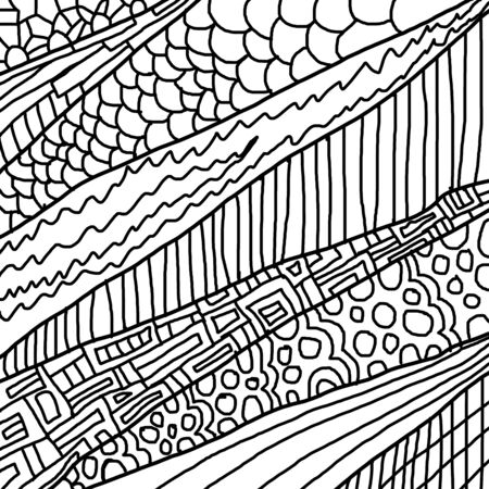 Sketchy seamless pattern. Decorative hand drawn doodle ornamental. Black and white