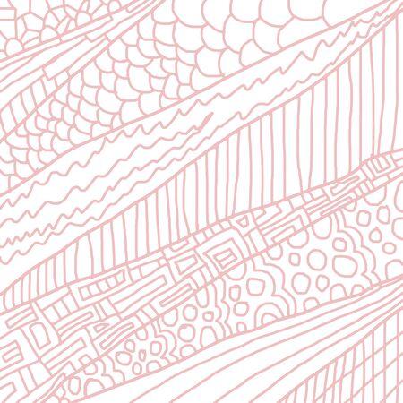Sketchy seamless pattern. Decorative hand drawn doodle ornamental. Pink Фото со стока