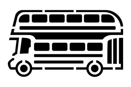 Black outline drawing of a double-decker bus. Transport from England. For plotter cutting. Print